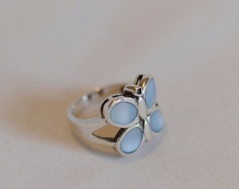Vintage Sterling Silver Showy Butterfly Ring With Blue Mother Of Pearl MOP.. Size 7.5 (#72)