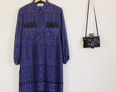VINTAGE Indigo and Black Cute Button Up Baby Doll Dress Party 70s Flowers Festival Collar Long Sleeve