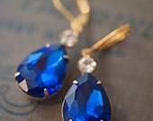 Sapphire earrings Navy blue chandelier earrings Swarovski earrings Drop earrings something blue bridal earrings Bridesmaid gift, Gold Silver