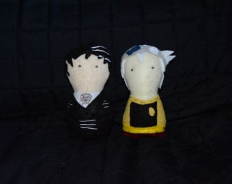 Hand Sewn Death the Kid, Soul from Soul Eater Felt Plushies