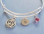 Flower Bracelet, Rose, Floral, Initial Bangle,Silver Bangle,Personalized,Expandable,Charm Bracelet,Birthstone Bracelet,BFF Friend,Birthday