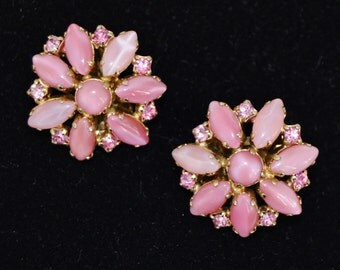 Vintage Clip-On Earrings with Pink Stones and Shiny Rhinestones by La Rel