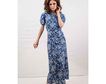 1940s dress / 40s floral print maxi dress / Luv Lee Frock / Cotton dressing gown M L