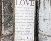 Love is patient love is kind Faith Hope Love Sign - 1 Corinthians 13 Sign - Rustic Wedding Sign with Rustic Frame Barn Wood Wall Art