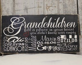 Personalized Family Grandkids Sign on Wood or Canvas Family Tree Large Family, Personalized Grandparent Sign Anniversary Gift Family Dates