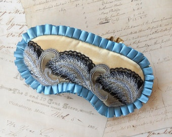 Deco Feather Sleep Mask in Gold, Blue, Black // Satin Eye Mask // Gatsby Collection