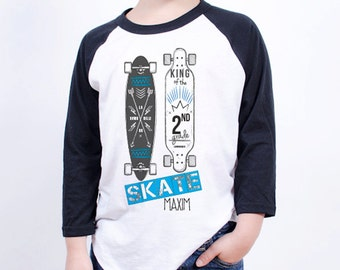 Skate Life T-Shirt - King of 2nd Grade (Choose Your Own Grade) - Personalized Back to School Shirts - Long Board Tees for kids or teachers
