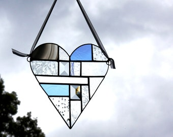 Summer, Winter, Springtime and Harvest Stained Glass Patchwork Hearts Wall Panel
