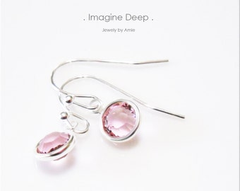 Light Pink Crystal Earrings Sterling Silver Soft Baby Pink Tourmaline -like Swarovski Crystal Dangle Earrings - 30% off SPECIAL