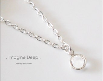 40% off SPECIAL Clear Crystal Necklace 16 17 18 inch Silver Plated Diamond White Topaz like Swarovski Crystal Birthstone Necklace