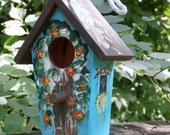 Little Birdhouse Wind Chime Hand Painted