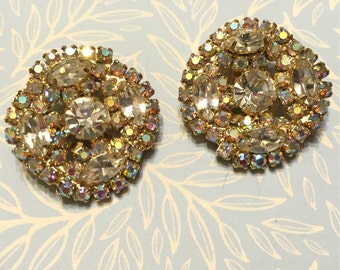 Vintage Sparkly Clear and AB Rhinestone Earrings