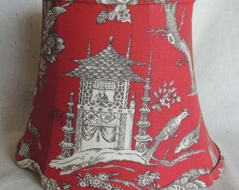Red Lamp Shade, Red Scenic Lamp Shade, Red Toile Lamp Shade, Hand Made Lamp Shade, Toile Lamp Shade, Fabric Lamp Shade, 6x9.5x7.75 High