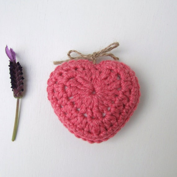 pink crochet heart with a choice of  lavender