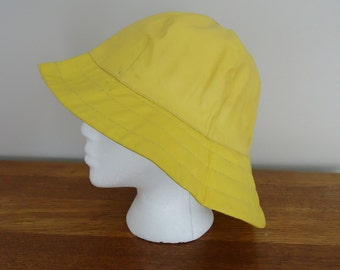 Vintage Hat, Retro Hat, Derby Hat, Womens Accessories, Boho style, French vintage, Yellow Rain or Sun cloche hat