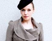 Reserved for Lena - Black feather felt vintage style percher hat