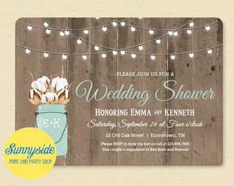COTTON Bridal Shower Invitation, Printable Wedding Invite, Cotton Barn Wood & Lights, Mason Jar Cotton Bouquet, Farm