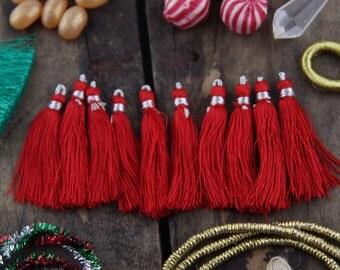 "Tassel Ten Pack in Red, Art Silk Jewelry Tassels from India, 2"", Mala Tassels, Yoga Jewelry Making, Craft Supplies, Holiday Decor, Festive"