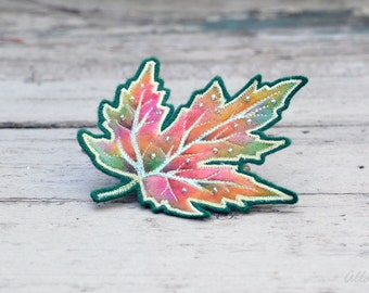 Maple Leaf Pin. Hand Painted Silk Brooch. Fiber Art Fall Leaf  Brooch. Textile Art Embroidered Maple Leaf Pin.