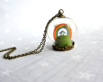 Terrarium necklace with tiny house and rainbow. Miniature in glass globe. Christmas gift.