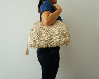 Beige Crochet Bag  Tote Bag Shoulder Bag  Leather Bag  Handmade Bag Cotton Bag Summer Bag- Gift For Her Women Valentine's Day gift
