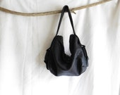 Slouchy Black Shoulder Purse with Leather Ring Feature and Steel Zip Trims - Various Strap options available
