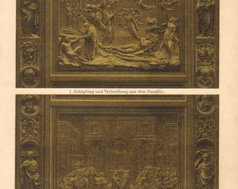 1894 Antique Chromolithograph Showing two Bronze Relief Scenes by Lorenzo Ghiberti on the Gates of Paradise of the Florence Baptistry