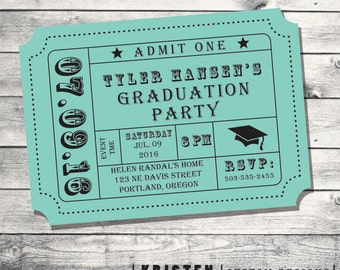 Graduation Party - Party Invitation- Admission -Movie Ticket- Stub- Print Order Deposit or Digital File Setup for DIY Printing