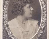 Woman In Profile- 1910s Antique Photograph- Edwardian Memorial Portrait- Electric Studio, Denver- Real Photo Postcard- RPPC- Paper Ephemera