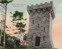 Ethan Allan Tower- 1900s Antique Postcard- Burlington, Vermont- Memorial Monument- Souvenir- Valentine & Sons- Paper Ephemera- Unused