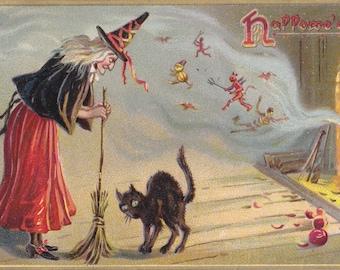 Witching Hour- 1900s Antique Postcard- Halloween Decor- Classic Witch Broomstick- Black Cat- Cauldron- Raphael Tuck- Paper Ephemera- Used