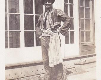 Matador- 1920s Antique Photograph- Bullfighter- Homemade Costume- Funny Snapshot- Found Photo- Halloween Decor- Paper Ephemera