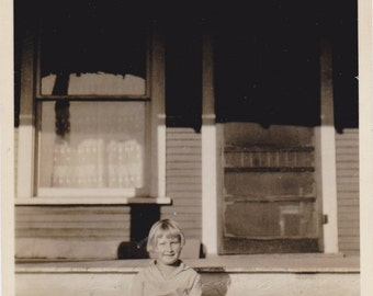 Ray of Sunshine- 1920s Antique Photograph- Little Girl with Bobbed Hair- Sitting on Porch Steps- Roaring 20s- Found Photo- Paper Ephemera