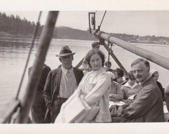 Bon Voyage- 1930s Vintage Photographs- SET of 2- Sailing Away- Boat Trip- Boating Photos- Nautical Decor- Snapshots- Paper Ephemera