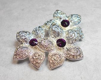 Vintage Brooch, Rhinestone Brooch, Purple Rhinestone, Flower Brooch, Rhinestone Floral, Silver Tone, Vintage Napier, Fashion Pin