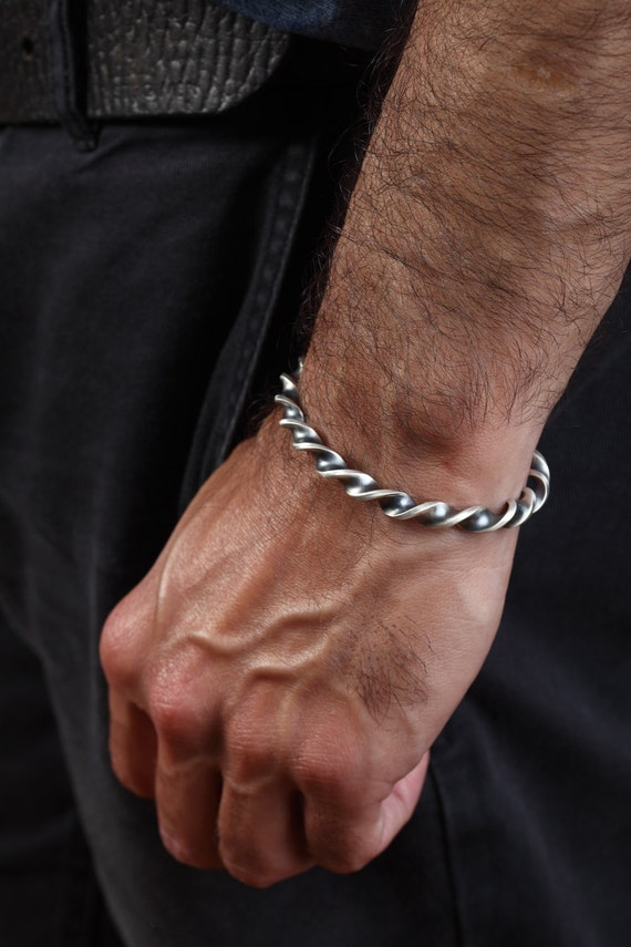 twisted mens bangle bracelet for him in solid sterling silve