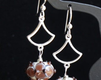 Brown Fall Glass Lampworking Beaded Sterling Silver Earrings