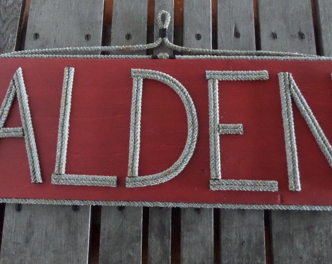 Large Sign Name MADE TO ORDER Personalize Adresses Shops Reclaimed Wood Rope Letters Nautical Nursery