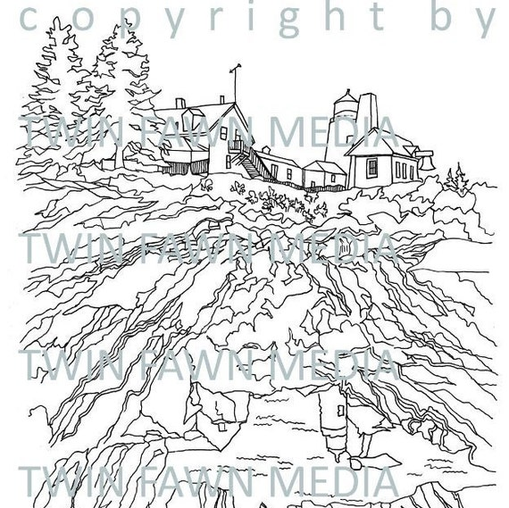 MAINE LIGHTHOUSE COLLECTION 5 five coloring pages