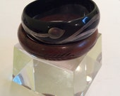 Vintage Bangle Bracelet Collection Wood and Bakelite with Sterling Overlay