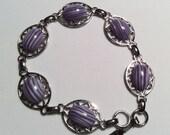 "Silver Bracelet Vintage Cabochons Violet and White Striped Art Glass 8"" long"