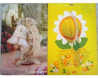 Hallmark Honeycomb Centerpieces - Daisy Days & Bridal Bluebirds -70s-80s