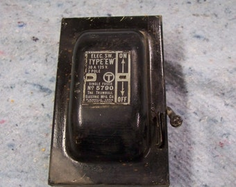 "Electrical Box, Vintage Fuse Box, Lighting Supply, Industrial Decor by The Trumbull Elec. Mfg. Co. No. 5790, Type ""EW""  Single Fused"