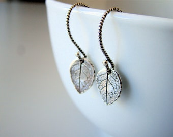 Petite Leaves ,  small dangling earrings with sterling silver earwires