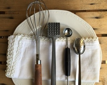 Vintage Kitchen Utensils Lot Whisk Metal Meat Mallet Tenderizer Melon Baller Scoop & Tea Steeper ~ #