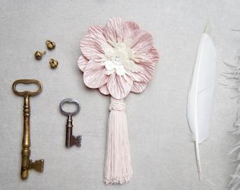 Light Pink Tassel Hair Clip - Light Pink And Ivory Tassel Hair Clip - Light Pink Tassel Brooch - Pink Tassel Pin - Pink Art Deco Hair Clip