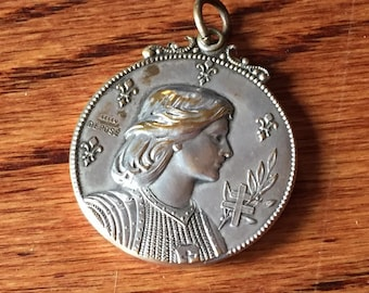 "Large Saint Joan of Arc Vintage Locket with Mirror Religious Medal Locket by Leleu Depose on 18"" sterling silver rolo chain"