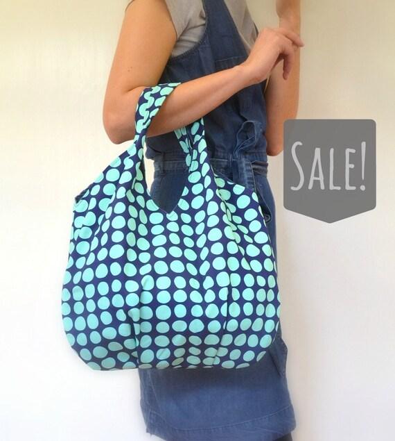 Sale Large Tote bag aqua dots on dark blue