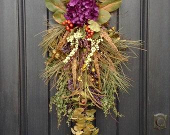 "Spring Summer Fall Wreath-Teardrop Wreath- Vertical Door Decor- Swag Decor Use Year Round..""Plum Sensation"" Purple Hydrangea Feathers Wispy"
