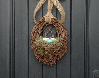 Farmhouse Wreath Spring Wreath Summer Wreath Grapevine Door Wreath Basket Decor-Kitchen Eggs-Blue-Green-Yellow